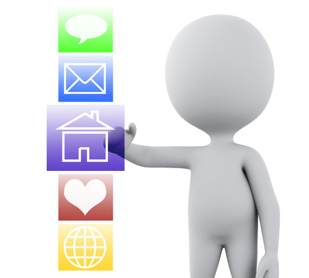 social web: 3d renderer image. White people with applications interface. Technology concept. Isolated white background