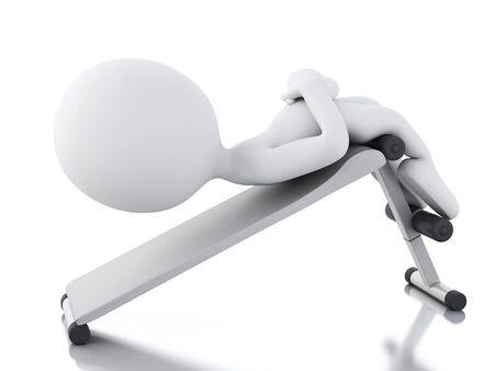 haciendo ejercicio: Imagen de render 3d. Los blancos que hacen ejercicio en el gimnasio. Fondo blanco aislado