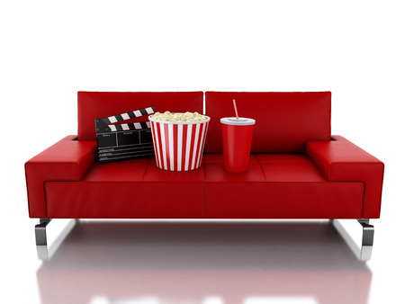 3d renderer illustration. Popcorn and drink. Cinematography concept. Isolated white background Stock Photo