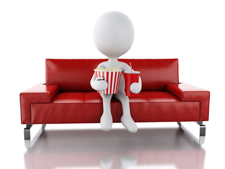average guy: 3d illustration. White people with popcorn and drink on the sofa. Cinematography concept. Isolated white background