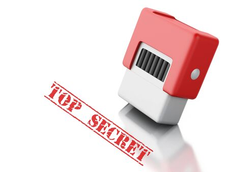 secret word: 3d renderer image. Red stamp with the word top secret. Security concept. Isolated white background