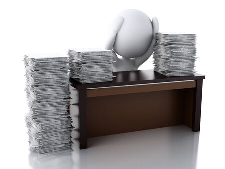 overworked: 3d renderer image. White people Overworked with stack of documents. Stress in the office. Isolated white background Stock Photo