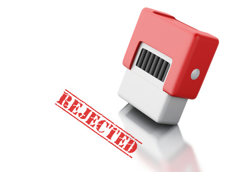 rejected: 3d renderer image. Red stamp with the word rejected. Isolated white background
