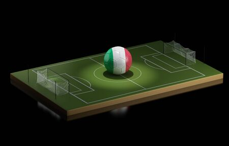 soccer field: 3d illustration. Soccer field and Italy ball. Sports concept on black background