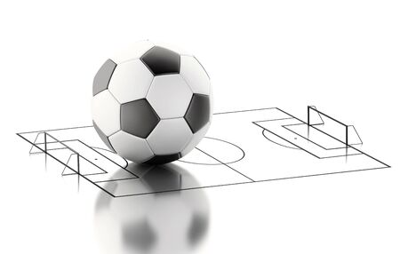 soccer field: 3d illustration. Soccer ball on a soccer field. Isolated white background