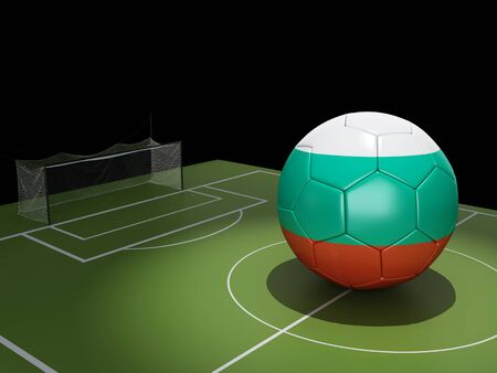 football pitch: 3d illustration. Soccer field and Hungary ball. Stock Photo
