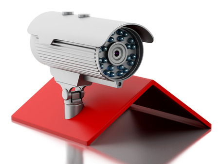 cctv camera: 3d illustration. House with CCTV camera. Security concept. Isolated white background