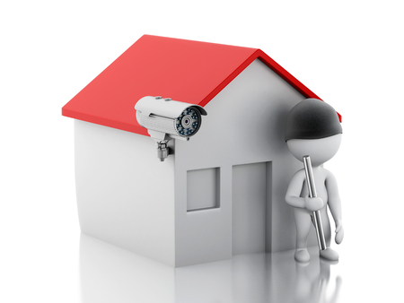 cctv camera: 3d illustration. White people thief. House with CCTV camera. Security concept. Isolated white background