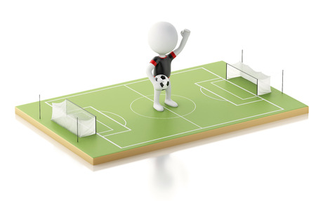 soccer field: 3d illustration. White people with Soccer ball on a soccer field. Isolated white background