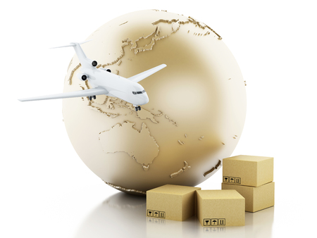 shipment: 3d illustration. Earth globe, cardboard boxes and airplane. Package delivery concept. Isolated white background