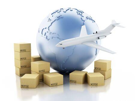 3D illustratie. Earth globe, kartonnen dozen en vliegtuig. Pakket levering concept. Geïsoleerde witte achtergrond