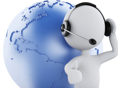 small flock: 3d illustration. White people with headphones and earth globe. Global communication concept, isolated white background Stock Photo
