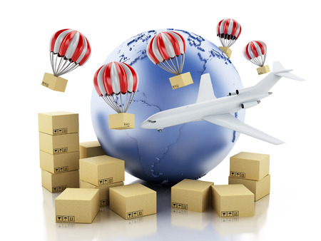 3d illustration. Earth globe, cardboard boxes and airplane. Package delivery concept. Isolated white background