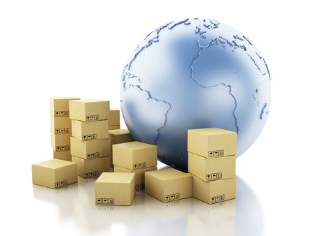 3d render illustration. Earth globe with cardboard boxes. Package delivery concept. Isolated white background