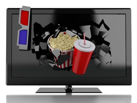 cinematography: 3d renderer illustration. Popcorn and drink, breaking TV screen.. Cinematography concept.