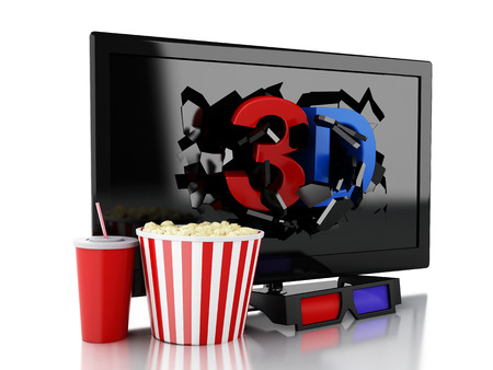 cinematography: 3d renderer illustration. 3D TV led, popcorn and drink. Cinematography concept. Isolated white background Stock Photo