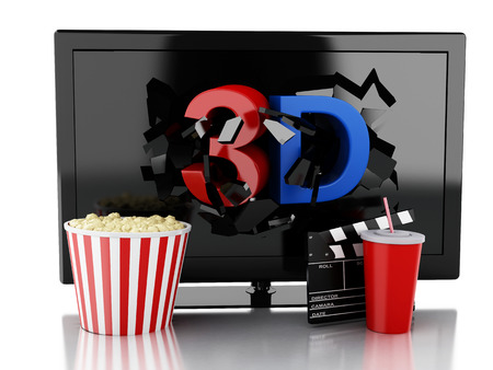 cinematography: 3d renderer illustration. 3D TV led, popcorn, drink and clapper board. Cinematography concept. Isolated white background Stock Photo