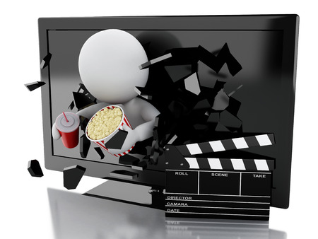 cinematography: 3d illustration. White people coming out of 3d television with clapper board, popcorn and drink. cinematography concept. Isolated white background