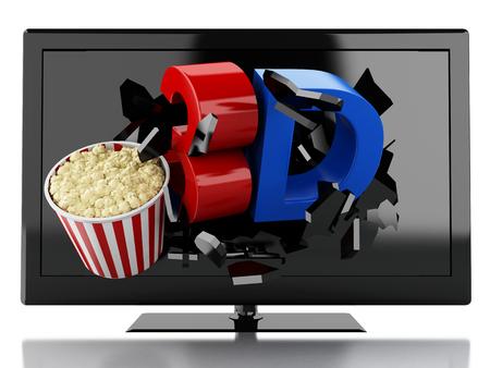 cinematography: 3d renderer illustration. 3D TV led and popcorn. Cinematography concept. Isolated white background