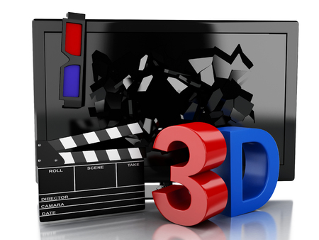 cinematography: 3d renderer illustration. 3D TV led and clapper board. Cinematography concept. Isolated white background Stock Photo