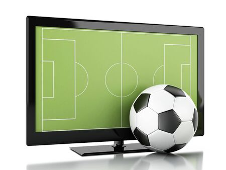 smart goals: 3d illustration. Tv screen with soccer field and ball. Sports concept. Isolated white background