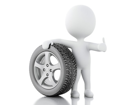 3d renderer illustration. White people with wheel. Mechanic concept. Isolted white background.