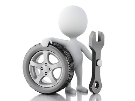 small people: 3d renderer illustration. White people with wheel car and wrench. Mechanic concept. Isolted white background. Stock Photo