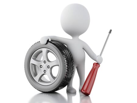 small flock: 3d renderer illustration. White people with wheel car. Service concept. Isolted white background.