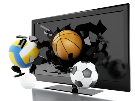 3d renderer illustration. Sport balls breaking Tv screen. Live sports concept