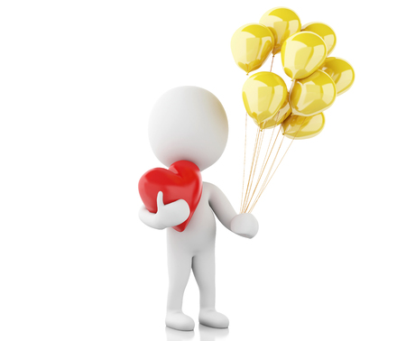 enamorados caricatura: la imagen de render 3D. La gente blanca en el amor con el coraz�n rojo y globos. D�a de San Valent�n. fondo blanco aislado Foto de archivo