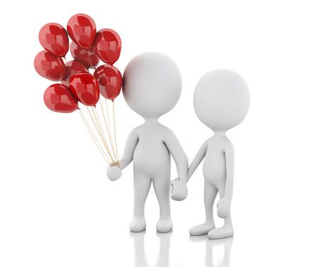 enamorados caricatura: la imagen de render 3D. La gente blanca con globos de color rojo. Pareja enamorada. fondo blanco aislado Foto de archivo