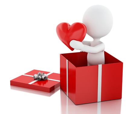 enamorados caricatura: la imagen de render 3D. La gente blanca en el amor con el coraz�n rojo. D�a de San Valent�n. fondo blanco aislado Foto de archivo