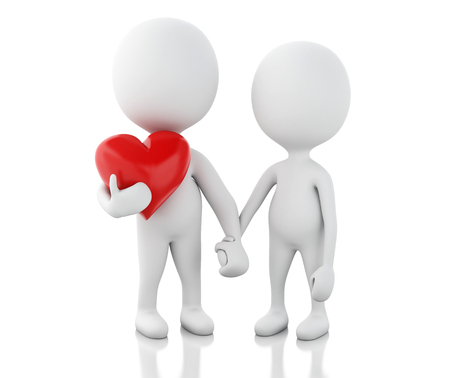 woman in love: 3d renderer image. White people and red heart. Couple in love. Isolated white background