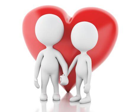enamorados caricatura: la imagen de render 3D. La gente blanca y coraz�n rojo. Pareja enamorada. Fondo blanco aislado