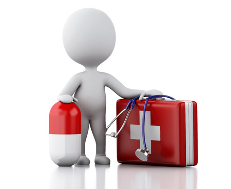 first aid kit: 3d illustration. White people doctor with first aid kit and pills. Isolated white background