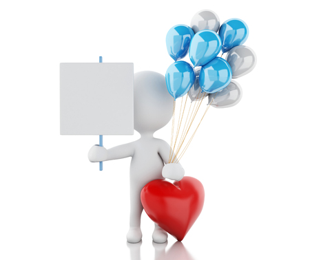 love image: 3d renderer image. White people in love with red heart and balloons. Valentines Day. Isolated white background