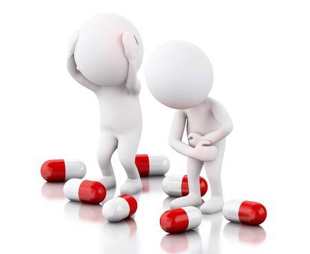 personas enfermas: la imagen de render 3D. La gente blanca con dolor necesita pastillas. concepto de medicina. fondo blanco aislado