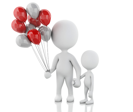 soothers: 3d renderer image. Parents with children and balloons. Family concept. Isolated white background