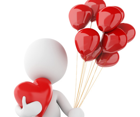 romantic couple: 3d renderer image. White people in love with red heart and balloons. Valentines Day. Isolated white background