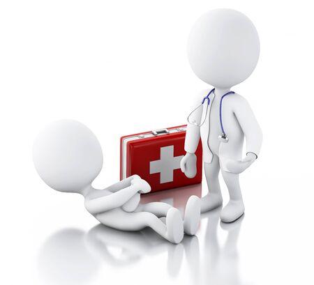 personas enfermas: Ilustraci�n 3D. La gente blanca Doctor con el estetoscopio que controla a las personas con dolor de est�mago. fondo blanco aislado