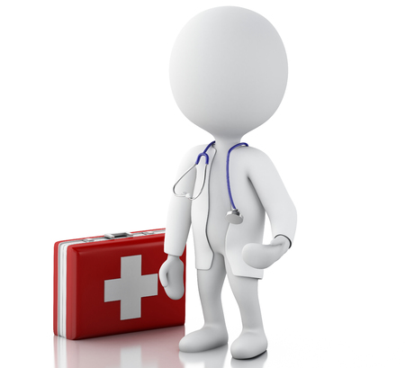 aid: 3d illustration. White people doctor with a stethoscope and first aid kit. Isolated white background