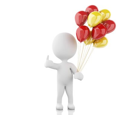 small people: 3d renderer image. White people with balloons. Isolated white background