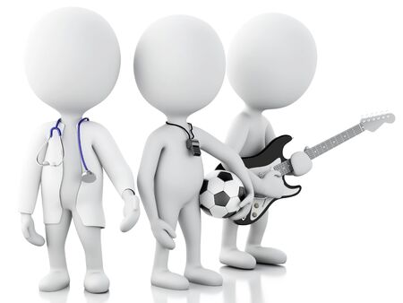 soccer coach: 3d renderer image. White people with different professions. Doctor, musician and soccer coach. Isolated white background Stock Photo