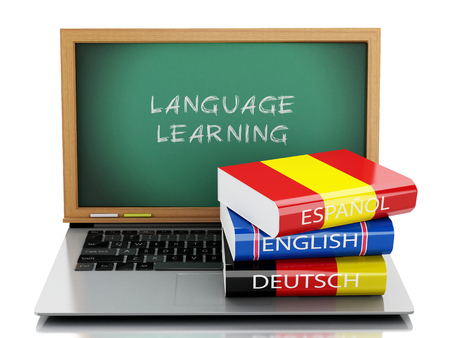 dictionaries: 3d illustration. Laptop with chalkboard and Dictionaries. Languages learn and translate, education concept. Isolated white background
