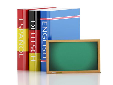 dictionaries: 3d renderer illustration. Stack of dictionaries and Blackboard. Language learning and translate, education concept. Isolated white background