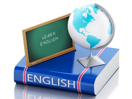 3 d レンダラーのイラスト。英語を学ぶ。言語学習と教育の概念を翻訳します。孤立した白い背景 写真素材