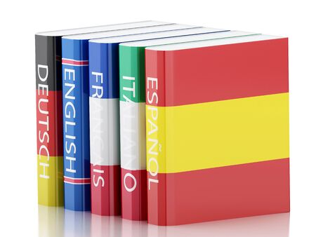 dictionaries: 3d renderer illustration. Stack of dictionaries. Language learning and translate, education concept. Isolated white background