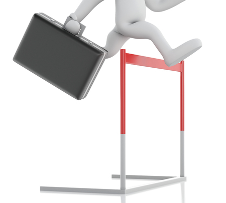 hopping: 3d renderer illustration. White people hopping over hurdle race. Business concept. Isolated white background. Stock Photo