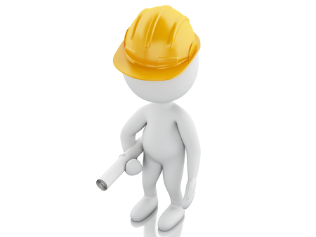 happy people white background: 3d renderer image. White people with helmet and plans. Construction concept. Isolated white background Stock Photo