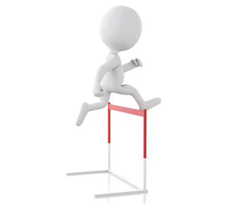 hurdle: 3d renderer illustration. White people hopping over hurdle race. Business concept. Isolated white background. Stock Photo